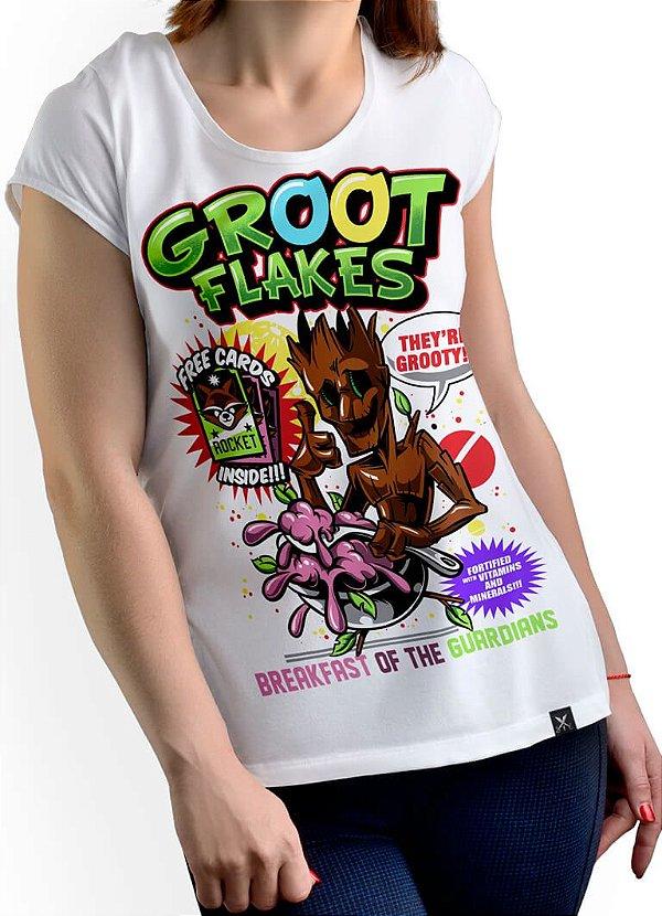Camiseta Printfull Groot Flakes - feminina