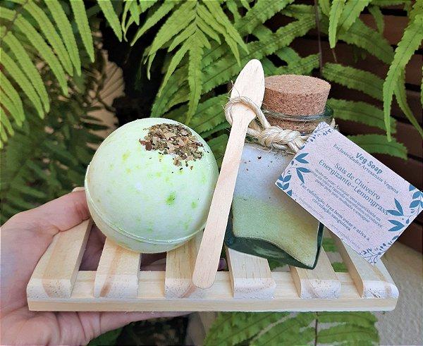 Kit bomba de banho e sais de chuveiro Capim Limão