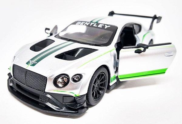 Bentley Continental GT3  Prata - Escala 1/38 - 12 CM