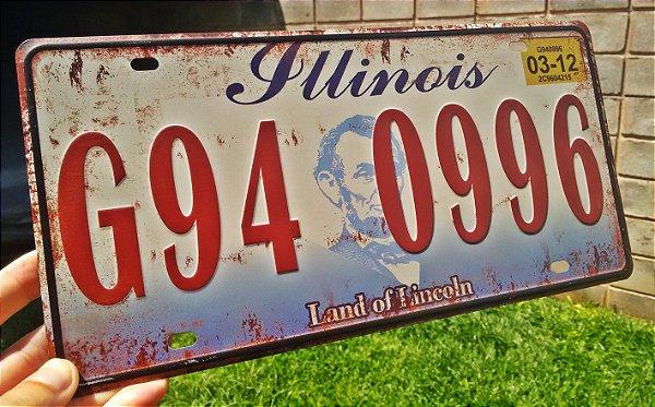 Placa Decorativa Illinois em Metal