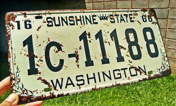 Placa Decorativa Washington em Metal