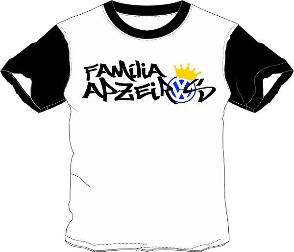Camiseta Família Apzeiros Branca/Preta Personalizada com seu NOME e CARRO