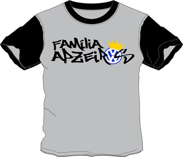 Camiseta Família Apzeiros Cinza/Preta Personalizada com seu NOME e CARRO