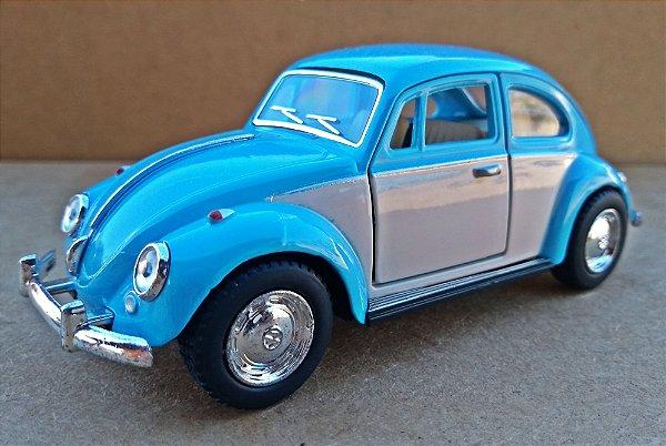Volkswagen Fusca Azul/Branco - Escala 1/32 - 13 CM