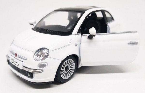Fiat 500 2007 Branco - Escala 1/28 12 CM