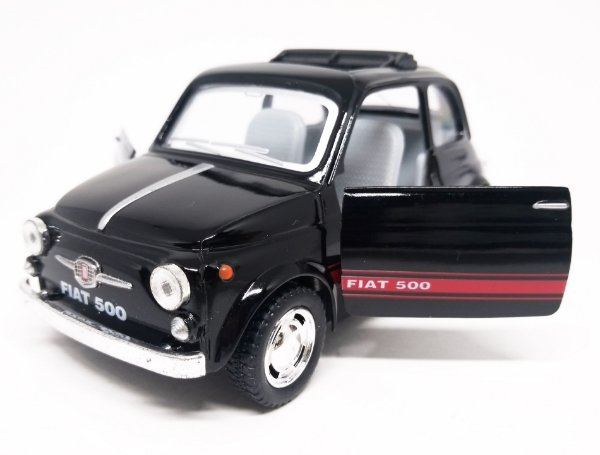 Fiat 500 Preto - Escala 1/24 - 12 CM