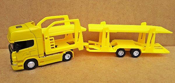 SCANIA R730 Amarela - ESCALA 1/64 + CARRETA (ESCALA 1/68) = 25 CM