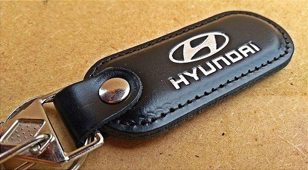 Chaveiro em Couro Preto Hyundai