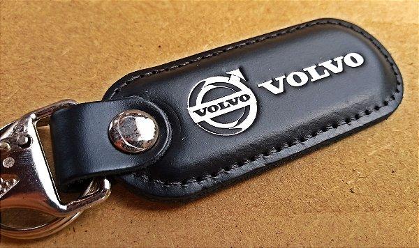 Chaveiro em Couro Preto Volvo