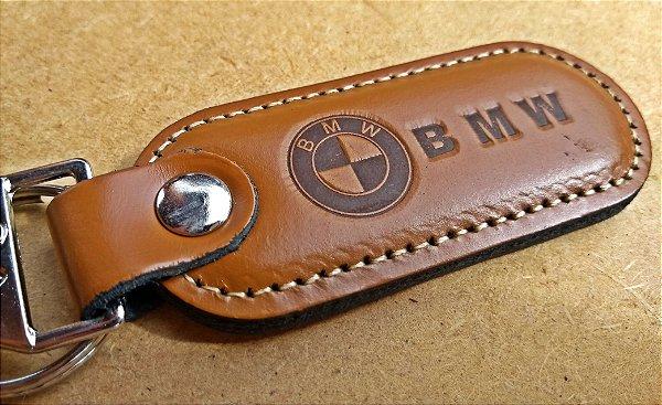 Chaveiro em Couro Marrom BMW