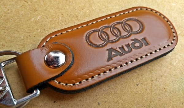 Chaveiro em Couro Marrom Audi