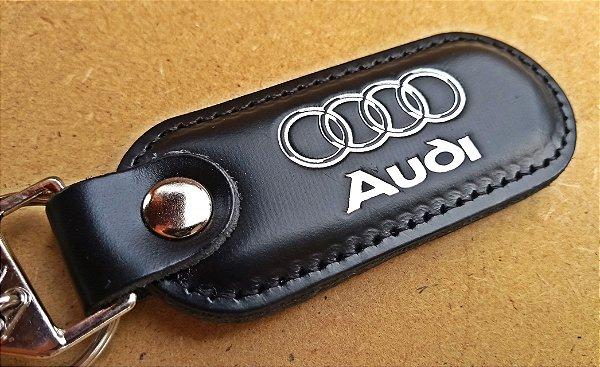 Chaveiro em Couro Preto Audi