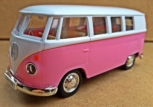 Volkswagen Kombi 1962 Rosa/Branca - Escala 1/32 - 13 CM