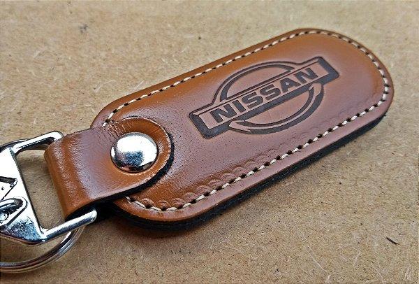 Chaveiro em Couro Marrom Nissan