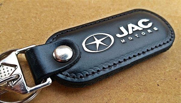 Chaveiro em Couro Preto Jac Motors