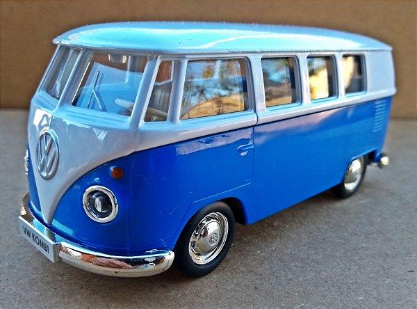 Volkswagen Kombi 1962 Azul Escuro/Branca - Escala 1/32 - 13 CM