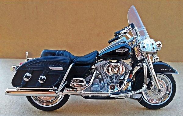 Harley Davidson Road King 2001 Preta - ESCALA 1/18 - 12 CM