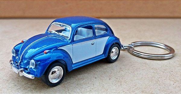 Volkswagen Fusca Azul Escuro/Branco - Chaveiro - Escala 1/64 - 06 CM