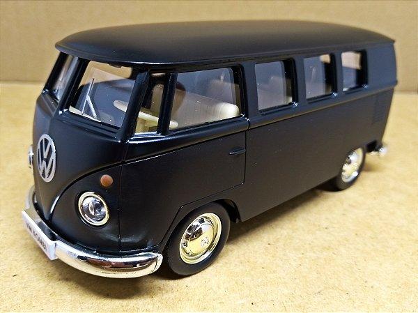 Volkswagen Kombi 1962 Preto Fosco - Escala 1/32 - 13 CM