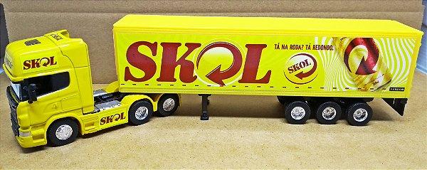 Scania R730 SKOL - Escala 1/64 + Carreta (Escala 1/68) = 25 CM