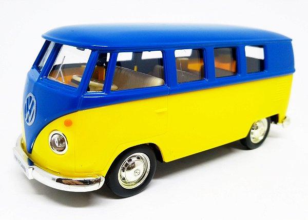 Volkswagen Kombi 1962 Azul/Amarelo - Escala 1/32 - 13 CM