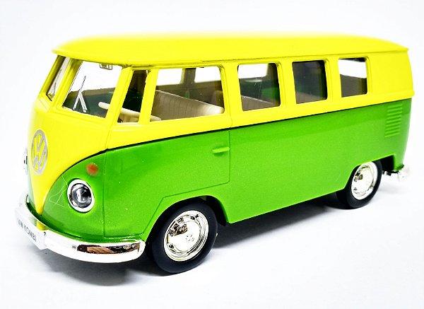 Volkswagen Kombi 1962 Amarelo/Verde - Escala 1/32 - 13 CM