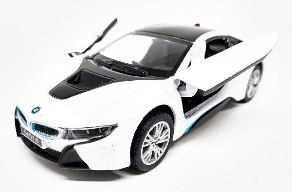 BMW I8 Branca - Escala 1/36 - 12 CM