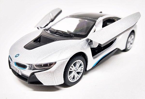 BMW I8 Prata - Escala 1/36 - 12 CM
