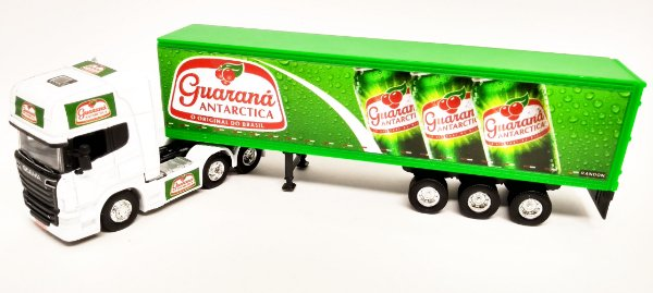 SCANIA R730 GUARANÁ ANTARTICA - ESCALA 1/64 + CARRETA (ESCALA 1/68) = 25 CM