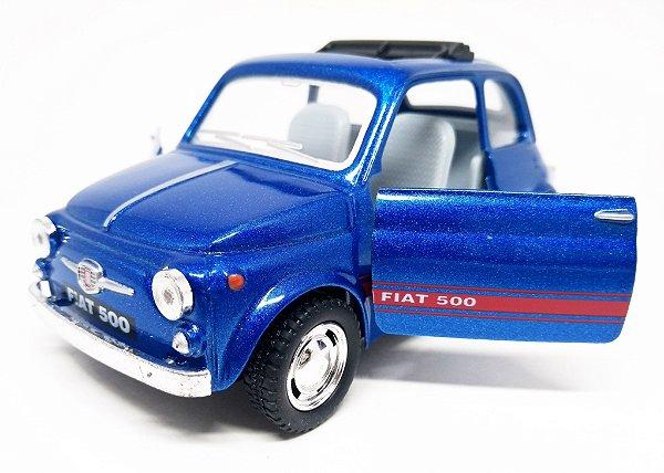 Fiat 500 Azul Escuro - Escala 1/24 - 12 CM