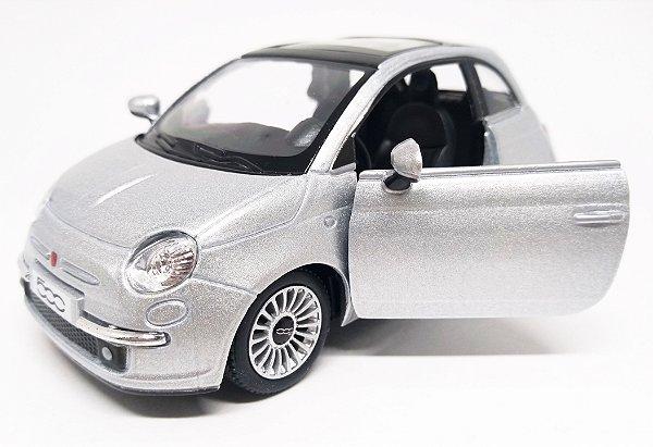 Fiat 500 2007 Prata - Escala 1/28 12 CM