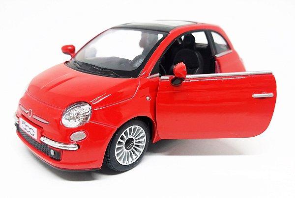 Fiat 500 2007 Vermelho - Escala 1/28 12 CM