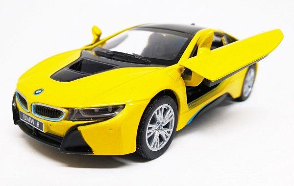 BMW I8 Amarela - Escala 1/36 - 12 CM