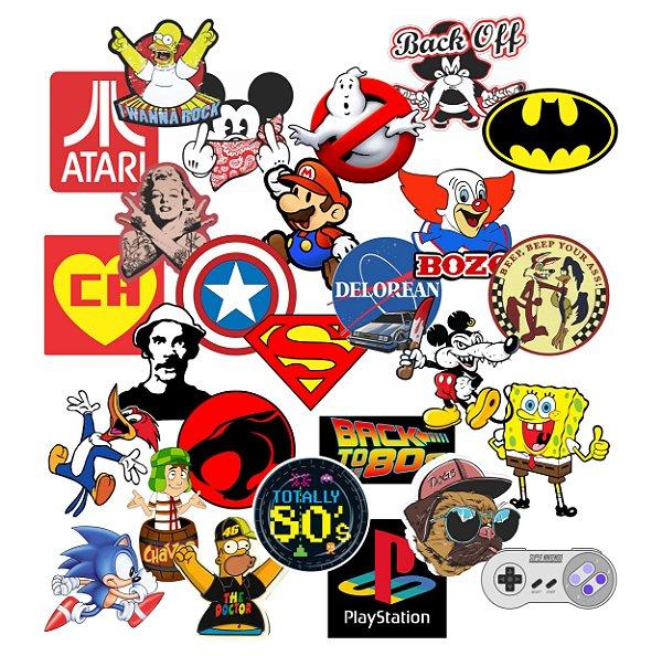 Adesivos Vintage Geek Nerd Personagens