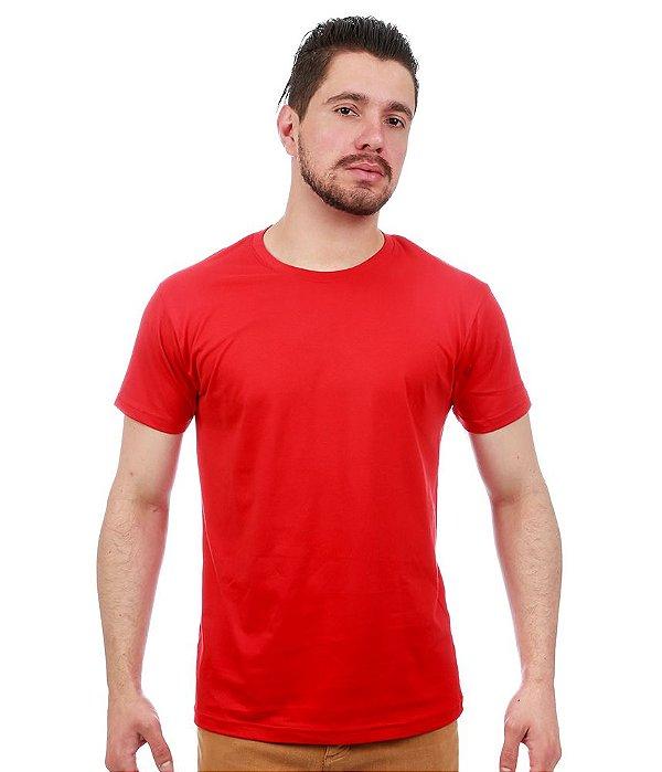 Camiseta Básica Masculina Vermelha Lisa 100% Algodão P/M/G/GG/XG
