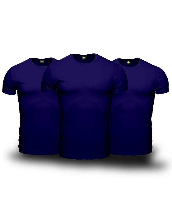 Combo 03 Camisetas Básicas Azul Marinho Manga Curta em Algodão