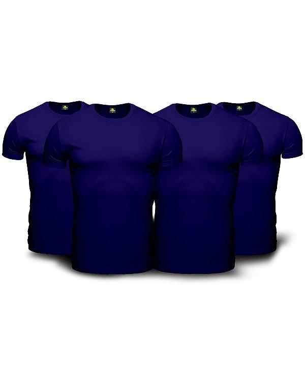 Kit 4 Camisetas Básica Masculina Azul Marinho Navy Blue Lisa 100% Algodão P/M/G/GG/XG