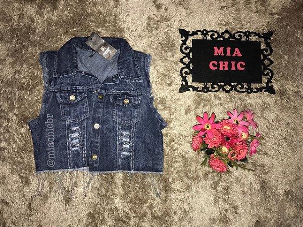 Colete Jeans c/detalhes em correntes