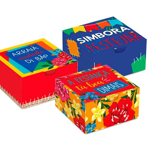 Caixa Divertida para 06 Brigadeiros Festa Junina - 10 unidades - Cromus - Rizzo Embalagens