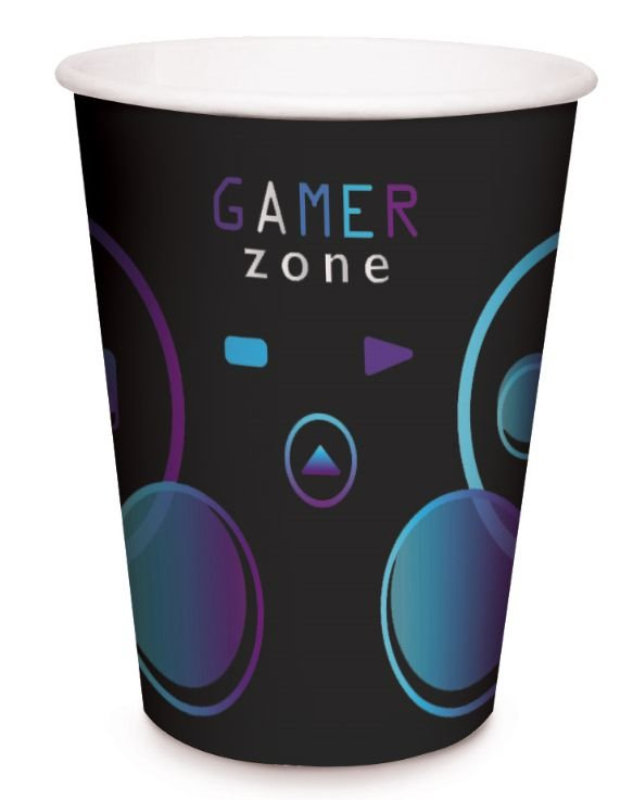 Copo de Papel Festa Gamer Level Up - 08 unidades - Cromus - Rizzo Embalagens
