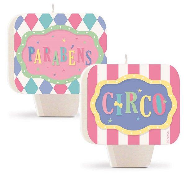 Vela Plana Dupla Face Festa Circo Rosa - 01 unidade - Cromus - Rizzo Embalagens
