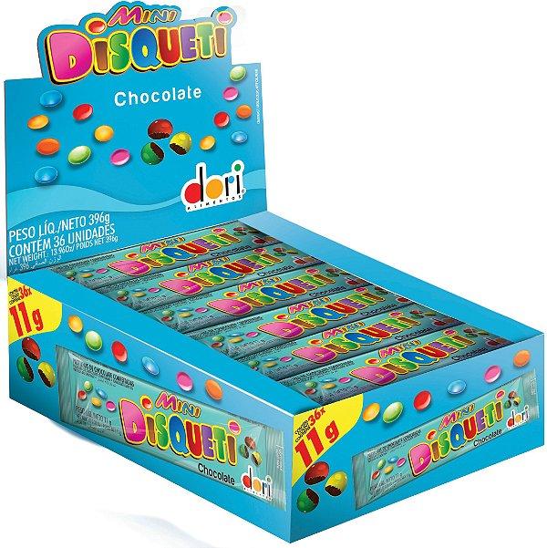 Pastilha Mini Disqueti Chocolate Confeitado - Caixa - Dori Alimentos - Rizzo Embalagens