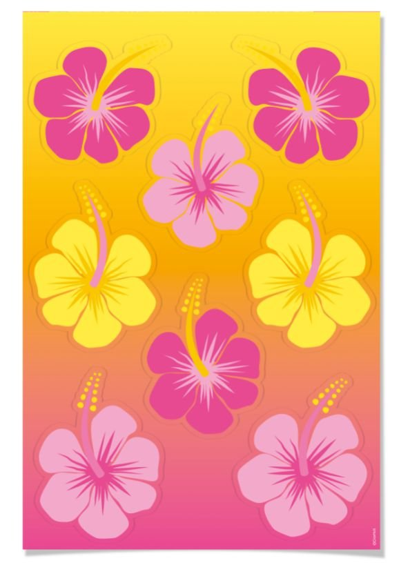 Cartela Adesiva Festa Havaiana - 02 unidades - Cromus - Rizzo