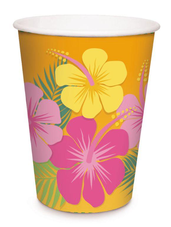Copo de Papel Festa Havaiana - 08 unidades - Cromus - Rizzo