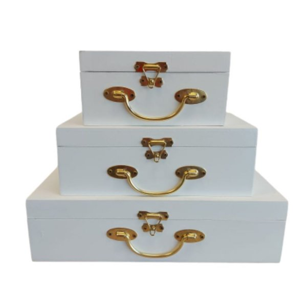 Caixa de Madeira com Fecho de Metal - Branco - Kit 03 unidades - Rizzo Embalagens