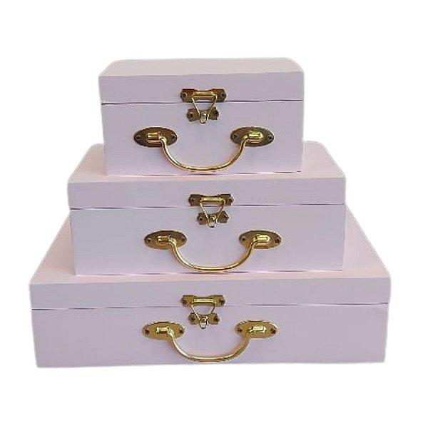 Caixa de Madeira com Fecho de Metal - Rosa - Kit 03 unidades - Rizzo Embalagens