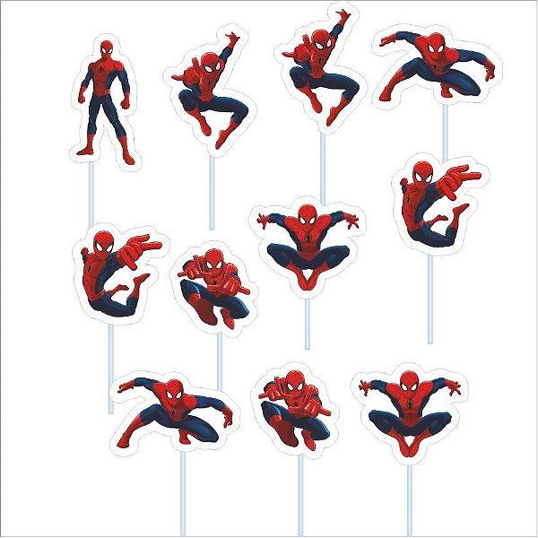 Palitos Decorativos em EVA - Homem Aranha - 12 Unidades - Piffer - Rizzo Embalagens