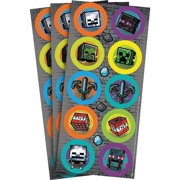 Adesivo Redondo para Lembrancinha Festa Minecraft - 30 unidades - Regina - Rizzo Embalagens