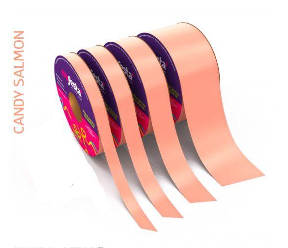 Rolo Fita Lisa Candy Salmon - 15mm x 50m - EmFesta
