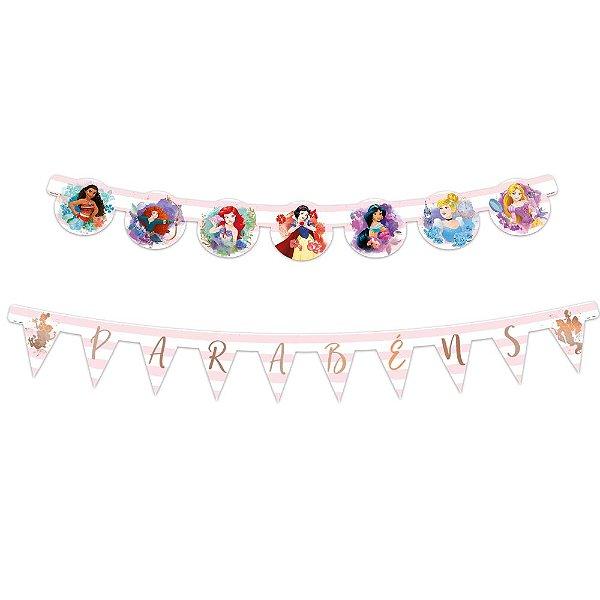 Faixa Parabéns - Festa Princesas da Disney - 01unidade - Regina - Rizzo Embalagens